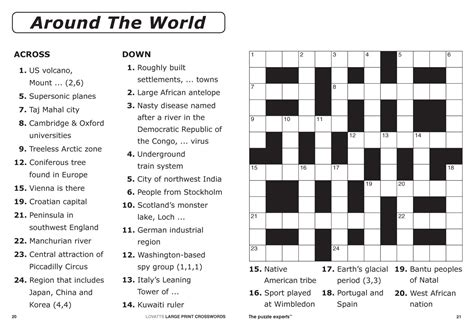 Large Print Crossword Puzzles Printable Word Puzzles For