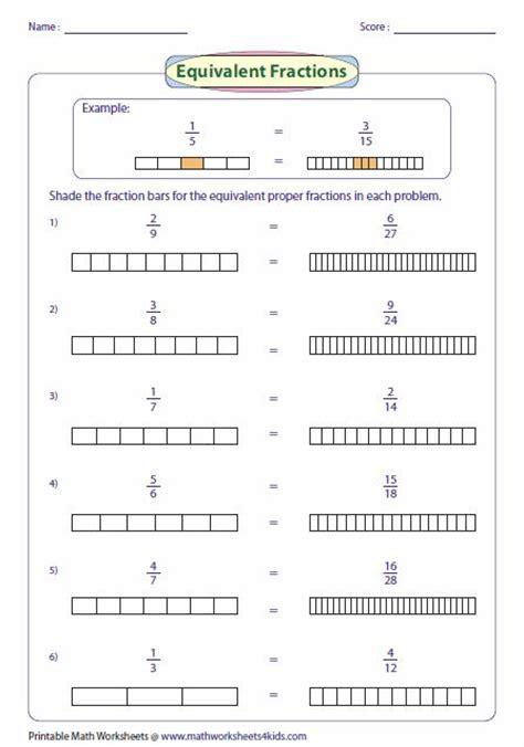 represent equivalent fraction using fraction bar