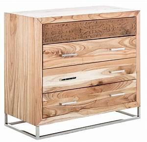 Commode Bois Massif : commode bois massif de mindy naturel et acier lina ~ Teatrodelosmanantiales.com Idées de Décoration