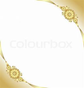 Document template with golden floral background Stock