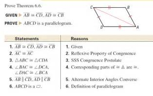 Geometry Parallelogram Proofs Examples Two Columns