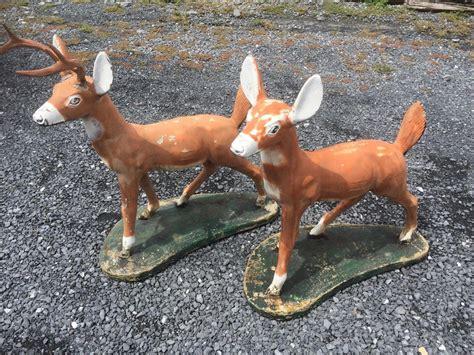 vintage mid century concrete deer statues lawn art