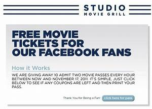 Facebook Contest: 2 Free Studio Movie Grill Tickets
