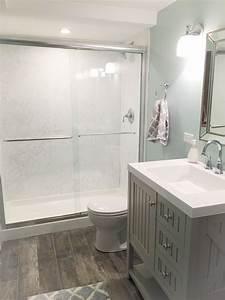 Our new basement bathroom vanity by martha stewart paint for Martha stewart bathrooms