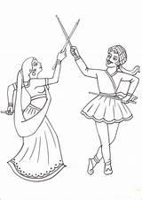 Coloring Navratri Festival Dussehra Draw Sketch Spirit Template Larger Credit Making sketch template
