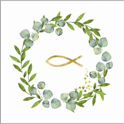Eukalyptus Fisch Kommunion Servietten Kranz Konfirmation Herz