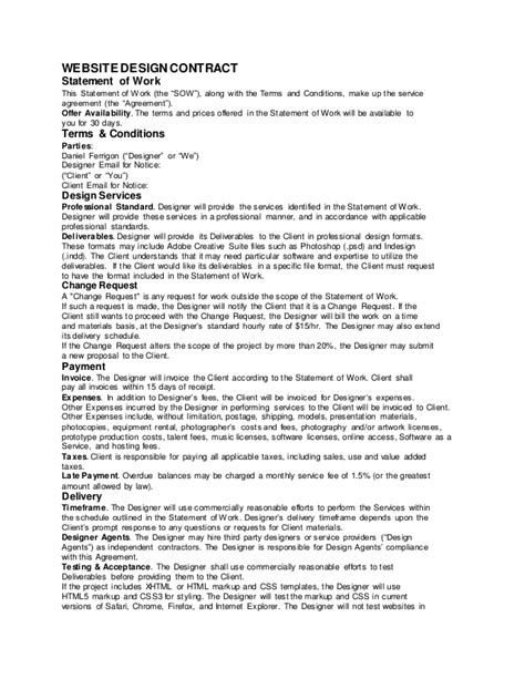 contract sow template sle web design contract ferrigon media