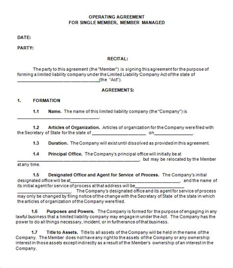 free operating agreement template 9 sle llc operating agreement templates to sle templates