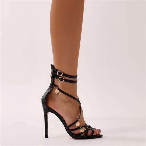 public desire synthetic charmed strappy stiletto heels