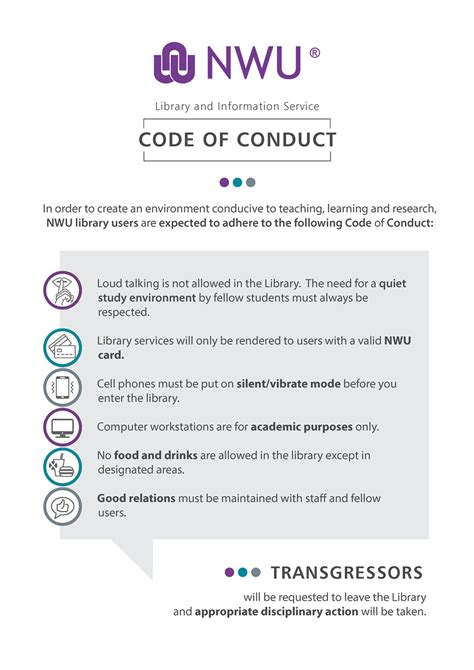 code  conduct north west university libraries