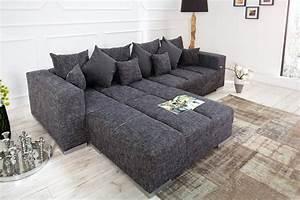 Couch Kissen Xxl : design xxl sofa big sofa island in grau charcoal strukturstoff inkl kissen riess ambiente ~ Indierocktalk.com Haus und Dekorationen