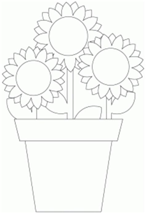 sunflower digital stamp pot plant cut file template