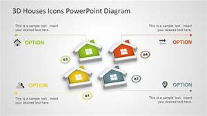 3d Houses Icons Powerpoint Diagram