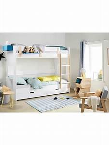 Lit Mezzanine Mi Hauteur : lit mezzanine mi hauteur ligne everest blanc bois vertbaudet ~ Melissatoandfro.com Idées de Décoration