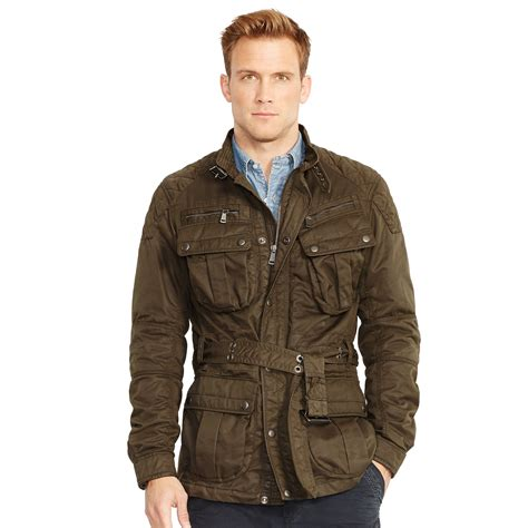 lyst polo ralph belted moto jacket in natural for