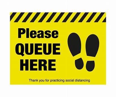 Queue Please Symbol Floor Distancing Signs Graphic