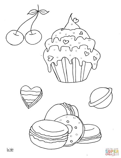 Cupcake Candle Coloring Page