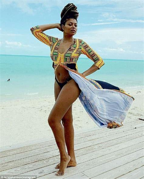 actress from long beach taraji p henson poses in a bikini on caribbean beach