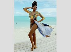 Taraji P Henson poses in a bikini on Caribbean beach