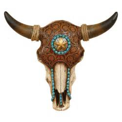 bull design bull skull with tooled leather design