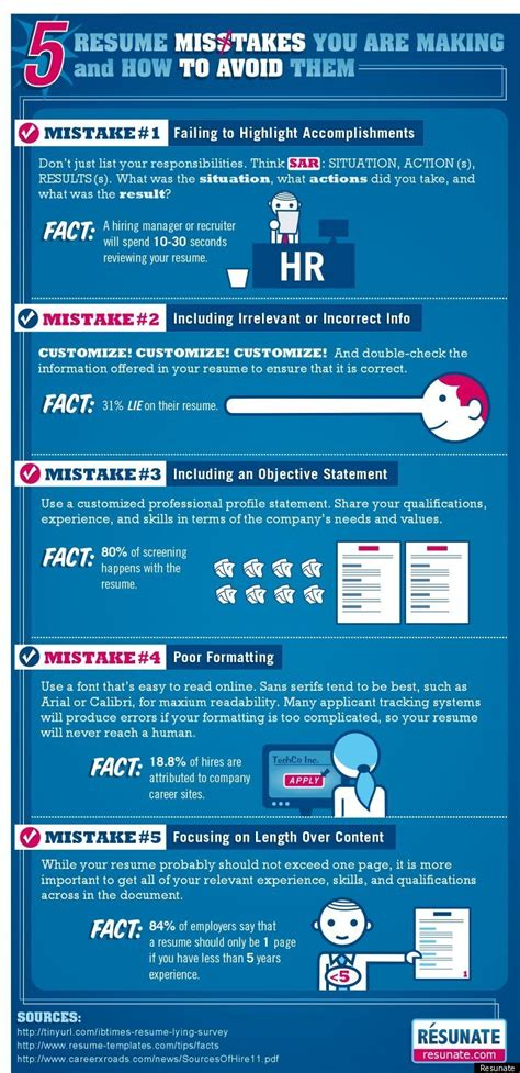 Resume Mistakes by Best 16 Info Graphics For Hacks Hacks