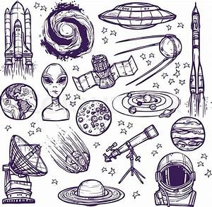 Space And Astronomy Sketch Decorative Icons Set Of