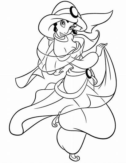 Jasmine Coloring Princess Cartoon Disney Pages Aladdin