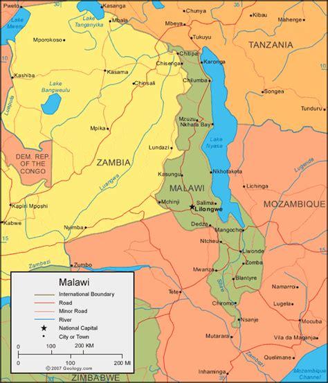 malawi map and satellite image