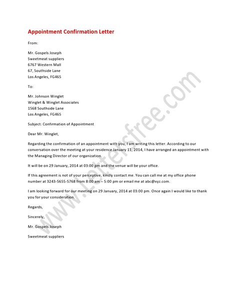 appointment confirmation letter   formal letter written