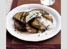 Grilled aubergine with creamy dressing recipe BBC Good Food