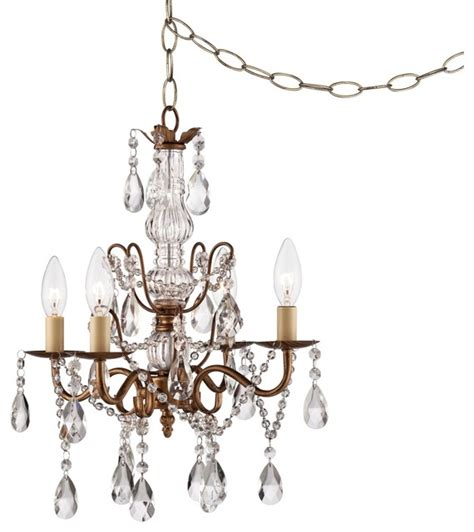 lovell crystal 15 quot wide gold plug in swag chandelier