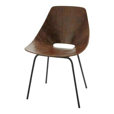 chaise tonneau guariche en cuir  metal marron amsterdam maisons du monde
