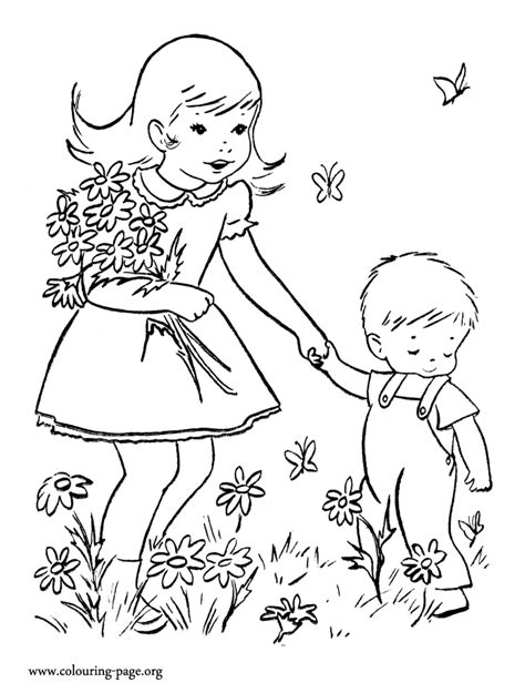 Coloring Picture For Kid by S Day Picking Flowers For Coloring Page