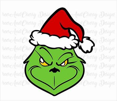 Grinch Clipart Svg Christmas Res Hat Santa