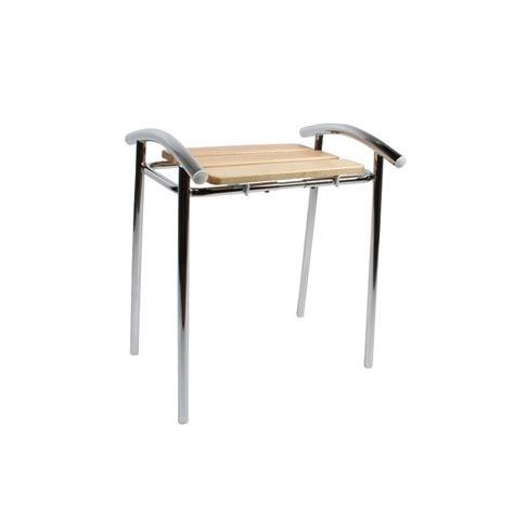 chaise de bain tabouret de salle de bain sedilvasca chromé et bois
