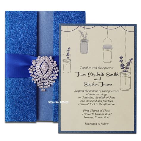 Royal Blue Wedding Invitation Shimmer Invitation Card
