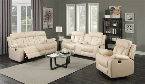 Modern Reclining Loveseat by Kyson Modern Beige Bonded Leather Reclining Sofa
