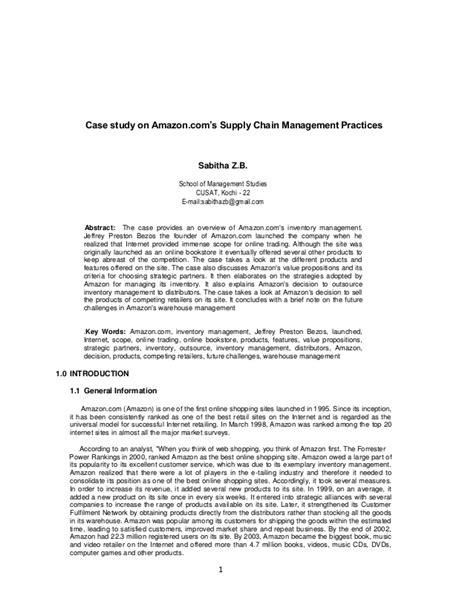Case study on amazon.com's supply chain management
