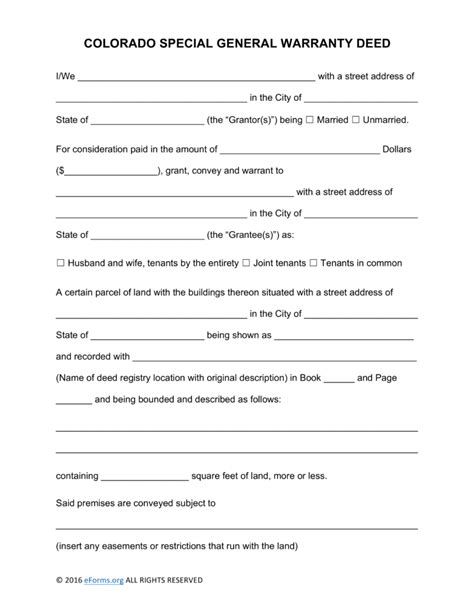 20953 warranty deed form template free colorado special warranty deed form pdf word