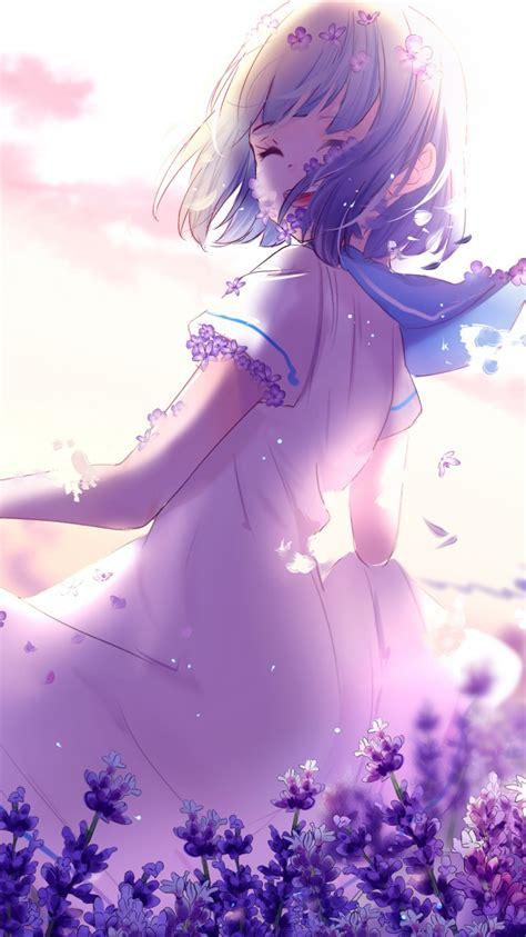 Purple Anime Wallpaper - anime lavender purple flowers 4k wallpapers hd