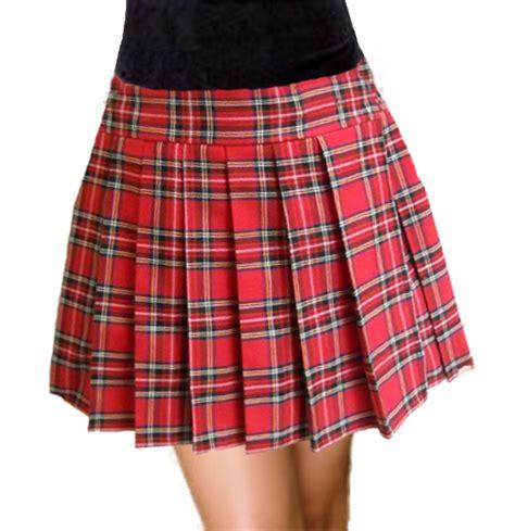 Donald Seneca Schoolgirl Tartan Plaid Pleated Long Skirt