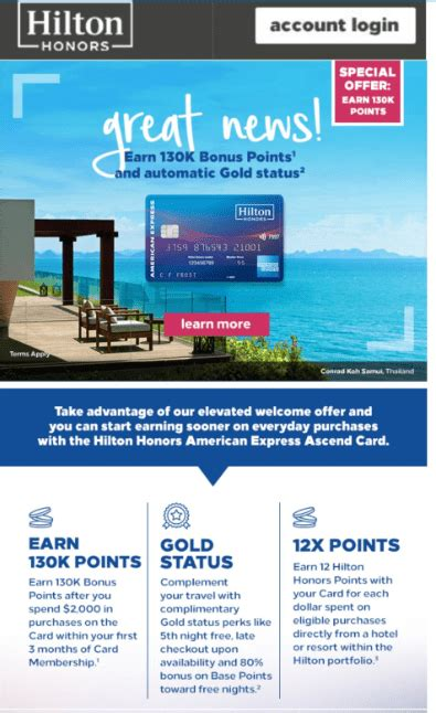 Existing accounts were transitioned in january 2018 to the hilton honors card from american express. Targeted American Express Hilton Ascend 130,000 Point ...