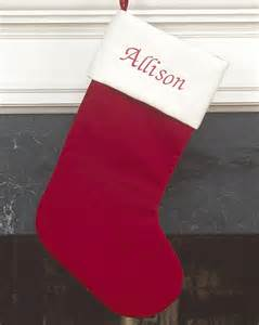 red and white velvet personalized christmas stocking personalized