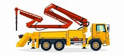 Concrete Pump Vector Clip Truck Construction Illustrations