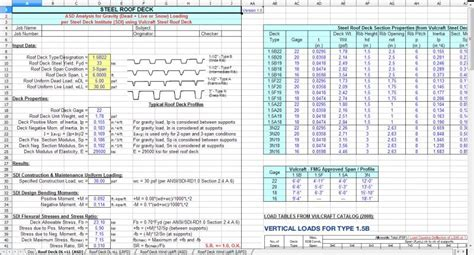Vulcraft Deck Cad Details by Roofdeck Spreadsheet Roof Steel Deck Analysis Design