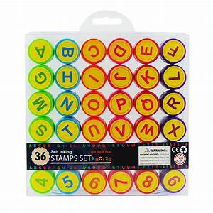 36pc kids self inking stamp set art craft skill toy learn With self inking letter stamps