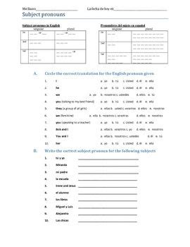 subject pronouns worksheet resources