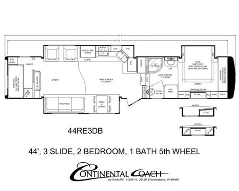 two bedroom fifth wheel continental coach 43 double bedroom floorplans rv s 17659 | 75814f6dfe2ddb960881882da43407a1