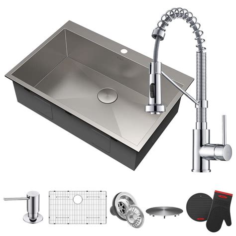 chrome kitchen sink kraus all in one drop in stainless steel 33 in 2 2201