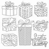 Coloring Gift Boxes Premium Vector Present Colouring Dreamstime Outline Illustrations sketch template